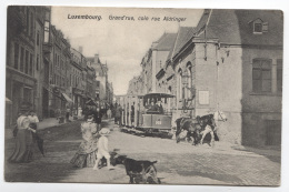 GD DU LUXEMBOURG - LUXEMBOURG - GRAND'RUE COIN RUE ALDRINGER - TRAMWAY HIPPOMOBILE - TRAMWAY A CHEVAL - VOIR ZOOM