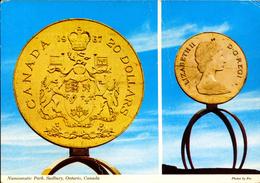 COINS-GOLD COIN MONUMENT-NUMISMATIC PARK,SUDBURY, ONTARIO,CANADA-PPC-FC-73