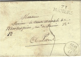 1829- Lettre De 71 / MAMERS ( Sarthe ) 30 X 11 Mm Noir Pour Paris - 1801-1848: Precursors XIX