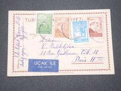TURQUIE - Entier Postal + Compléments Par Avion Pour La France En 1945 - L 7489 - Interi Postali