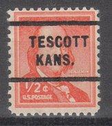 USA Precancel Vorausentwertung Preos Locals Kansas, Tescott 712