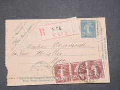 FRANCE - Carte Lettre En Recommandé Au Type Semeuse De Nice Pour Nice En 1925 - L 7493 - Postal Stamped Stationery