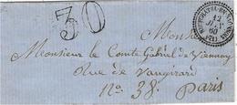 1860 - Lettre De Neufchatel-en-Saonnois ( Sarthe )  Cad T22 + Taxe Dt 30 Pour Paris - Marcophilie (Lettres)