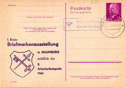 """DDR Amtl. Ganzsachen M. Priv. Zudruck """"Walter Ulbricht, 15Pf. Rotlila"""" P72/ C1, M. Anlaßbez. TSt. 25.6.68 NAUMBURG - [6] República Democrática"""