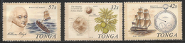 1989 Tonga Mutiny On Bounty Sailing Ship Fruit Map  Complete Set Of 3  MNH - Tonga (1970-...)