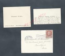 CDV CARTE DE VISITE + LETTRE TIMBRE PÉTAIN CAD BOULOGNE BILLANCOURT 1942 FAMILLE JUHEL : - Cartes De Visite