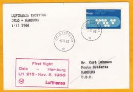 1966 - Enveloppe Par Avion D' Oslo, Norvège Vers Hamburg Allemagne - 1er Vol Lufthansa - Kristian Birkeland - Lettres & Documents