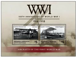 GRENADA  CARRIACOU 2015 MS MNH  WORLD WAR I AIRCRAFTS