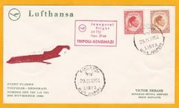 1964 - Enveloppe Par Avion De Tripoli Vers Benghazi, Lybie  - 1er Vol Lufthansa Boeing 727 - Libye