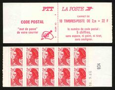 FRANCE - CARNET YT 2427-C1 - NON PLIE - DATE - Uso Corrente