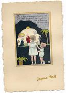 Carte Postale Ancienne Joyeux Noël 2 Petits Enfants Devant Une Crèche - Other