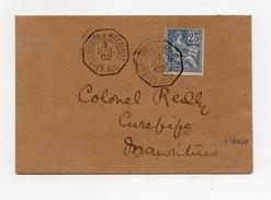 !!! 25C MOUCHON SUR LETTRE POUR MAURICE, CACHET MARITIME LA REUNION A MARSEILLE, LV N°3, 3/7/1902 - Poste Maritime