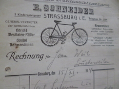 Facture Illustrée En Allemand Strasburg Strasbourg 1914 E.Scneider Fahrrad Nähmaschinenhaus Vélos Cycles - Frankrijk