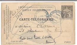 Entier Postal  Carte  - Télégramme 1885 Paris Rue Des Batignolles