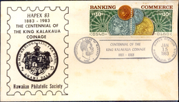 COINS-KING KALAKAUA COINAGE-CENTENARY-HONOLULU-HAWAII-SOUVENIR COVER-USA-1983-SCARCE-FC-73 - Münzen