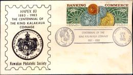 COINS-KING KALAKAUA COINAGE-CENTENARY-HONOLULU-HAWAII-SOUVENIR COVER-USA-1983-SCARCE-FC-73