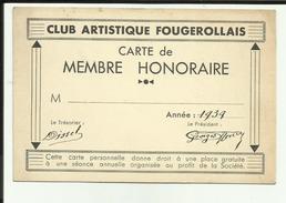 "70 - Haute Saone - Fougerolles - Carte "" Club Artistque Fougerollais "" - 1939 - - Cartes De Visite"
