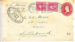 ENTIER POUR LA SUISSE - ST-IMIER - VAL COMPLEMENTAIRE ET CACHET DE CENSURE - 1916