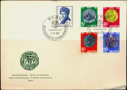 COINS-SWISS COINAGE-SET OF 4 ON FDC-SWITZERLAND-1962-SCARCE-FC-73 - Münzen