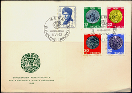 COINS-SWISS COINAGE-SET OF 4 ON FDC-SWITZERLAND-1962-SCARCE-FC-73