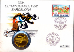 COINS-COOK ISLAND -$10 COIN COVER-XXV BARCELONA OLYMPICS-COOK ISLANDS-1992-LIMITED ISSUE-SCARCE-FC-73