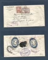Mexico - XX. 1922 (19 Oct) Pachuca, Hidalgo - UK, Herddersfield. Registered Map Issue Fkd Env. Nice + Seals On Reverse.. - Mexique