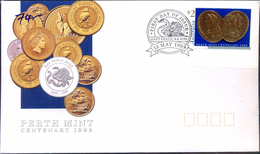 COINS-PERTH MINT-AUSTRALIA-GOLD FOIL EMBOSSED $2 STAMP-FDC-1999-SCARCE-FC-73
