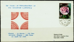 COINS-50 YEARS OF DECIMAL COINAGE IN INDIA-SPECIAL COVER-INDIA-2007-SCARCE-FC-73 - Münzen