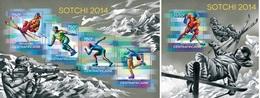Centrafrica 2014, Winter Olympic Games Sochi, Skiing, Hockey, Skating, 4val In BF +BF