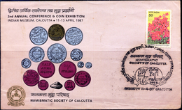 COINS-COINAGE OF INDIA-INDIAN MUSEUM CALCUTTA-ILLUSTRATED COVER WITH RARE POSTMARK-INDIA-1987-SCARCE-FC-74