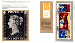 COINS-COINAGE OF ISRAEL-PENNY BLACK-STAINED GLASS WINDOWS AT CHAPEL-SOVENIR CARD WITH MS-ISRAEL-1990-SCARCE-FC-74