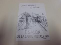 1ER SALON DE LA CARTE POSTALE....TROUVILLE-DEAUVILLE....1986....DESSIN CLAUDE ALACIO - Bourses & Salons De Collections