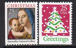 USA 1990 Christmas Booklet Stamp Set Of 2, MNH (SG 2549/50) - Etats-Unis