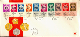 COINS-COINAGE OF ISRAEL-COMPLETE SET WITH TABS ON FDC-ISRAEL-1960-SCARCE-FC-75 - Münzen