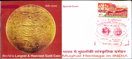 COINS-ANCIENT COINAGE OF INDIA-WORLD'S LARGEST & HEAVIEST GOLD COIN-SPECIAL COVER-INDIA-2002-SCARCE-FC-75