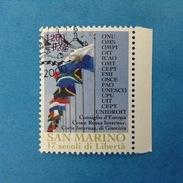 2000 SAN MARINO FRANCOBOLLO USATO STAMP USED - Fondazione Repubblica Organizzazioni Internazionali 0,62 - - San Marino