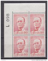 Dänemark, 464, 4erBlock, Postfrisch **, 150. Geburtstag Von Hans Christian Sonne, 1967