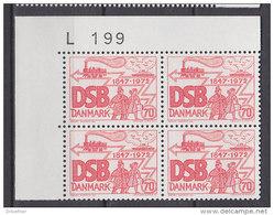 Dänemark, 523, 4erBlock, Postfrisch **, 125 Jahre Dänische Staatsbahnen, 1972