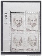 Dänemark, 522, 4erBlock, Postfrisch **, 100. Todestag Von Nikolai Frederik Severin Grundtvig, 1972