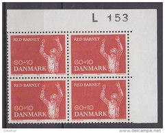 """Dänemark, 493, 4erBlock, Postfrisch **,  25 Jahre Organisation """"Rettet Das Kind"""", 1970"""