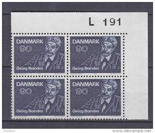 Dänemark, 518, 4erBlock, Postfrisch **, 100. Jahrestag Der Ersten Vorlesungen Von Georg Brandes, 1971