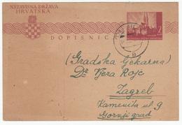 Croatia WWII NDH Postal Stationery Postcard Travelled 1943 Dubica To Zagreb B170520 - Croatia