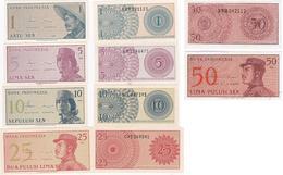 Indonesia - 1 5 10 25 50 Sen 1964 UNC Set 5 Banknotes Lemberg-Zp - Indonésie
