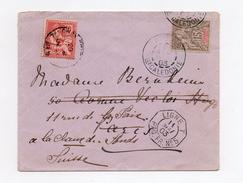 !!! LETTRE DE NOUVELLE CALEDONIE POUR PARIS DE 1903 CACHET MARITIME, REEXPEDIEE EN SUISSE ET REAFFRANCHIE 10 C MOUCHON - Nueva Caledonia