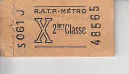 Carnet De 6 Ticket De Métro X 2 ème Classe - FRANCE  PRIX FIXE - Metropolitana