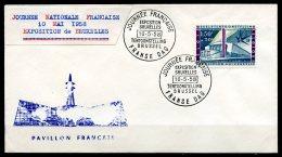 BE  Marcophilie  --  Obl. Mécanique / Machine   ---  EXPO 58  --   Journée Nationale Française / France  --  Pli