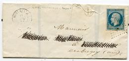 AIN De MONTMERLE LSC De 1858 ( Déchirures) Avec N°14 Oblitéré PC 2118+ Boîte Rurale D Non Identiifée - 1849-1876: Periodo Clásico