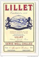étiquette -1970/1980* -LILLET  Et Freres   French Appéritif Wine - étiquette Export - PODENSAC - Bordeaux