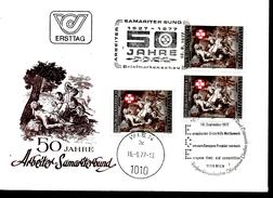 AUTRICHE  FDC 1977 Tableaux Samaritains Ouvriers Secours Santé
