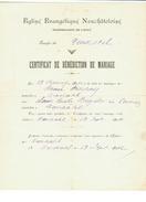 Suisse // Schweiz // Switzerland //  Certificat De Bénédiction De Mariage - Documents Historiques